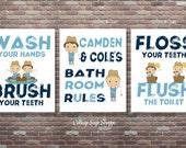 Boys Fishing Wall Art, Boys Bathroom Wall Art,DOWNLOAD ART, Boys Bathroom Rules,Fishing Bathroom Rules,PERSONALIZED,Boys Bathroom Decor