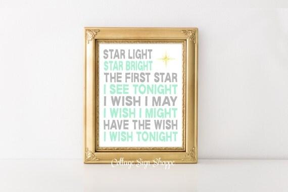 Nursery Rhyme Art, Star Light Star Bright, Playroom Wall Art,Children's Wall Art, Kids Nursery Rhymes, INSTANT DOWNLOAD,Nursery Rhyme Lyrics