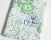 Shades of Green Pretty English Flower Garden Retro 1970s Cotton Vintage Fabric Fat Quarter