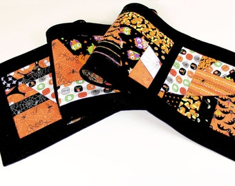 Long Halloween Crazy Quilted Table Runner in Black and Orange - Bats, Owls, Spiders, Pumpkins, Skeletons! Reversible!
