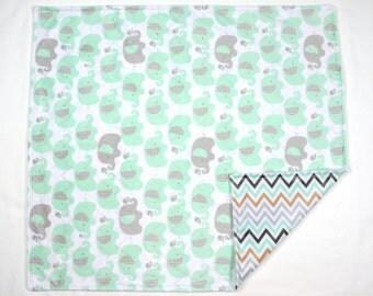 Elephant Baby Blanket w/ Top Stitch
