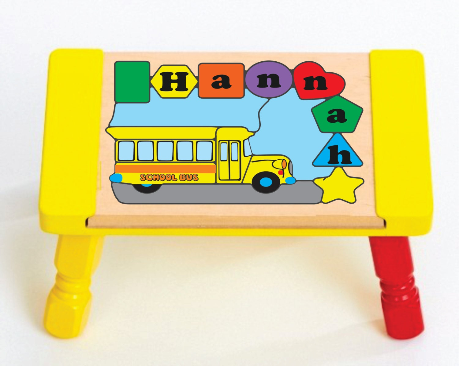 Personalized Name School Bus Children Puzzle Stool