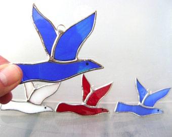 Bluebird Cardinal Bluejay Stained Glass Suncatcher Dove Peace Wedding Favors Christmas Ornaments Birthday Teacher Graduation