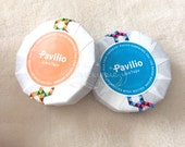 Pavilio Lace Tape - Decorative Sticker Roll -  Honeycomb Orange / Honeycomb Blue - Standard Width