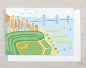 AT&T Park Card - San Francisco, Golden Gate Bridge, California, San Francisco Giants