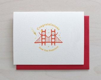 Golden Gate Twins Greeting Card - Congratulations