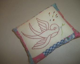 Pincushion, Embroidered Bird Pincushion