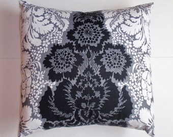 SUMMER SALE - Handmade Throw Pillow Cover, Elegant Black White & Gray Lacey Floral Accent Pillow Cover, Pretty Black and White Cushion Cover