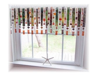 Fancy Schmancy NUMBER ONE Stained Glass Window Treatment Valance Curtain
