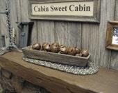 Miniature Dollhouse Primitive Wooden BOX Rusty Bells