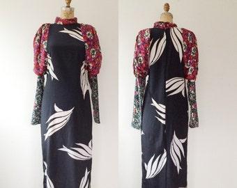 vintage maxi dress / floral print dress / Lorrie Kabala dress