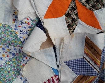 "36 pcs quilt squares, 9"", vintage feedbags, stars"