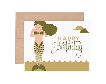 Mermaid Birthday Letterpress Greeting Card
