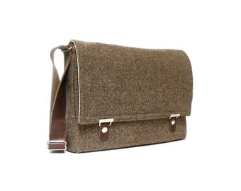 "13"" / 15"" / 17"" MacBook Pro messenger bag - brown tweed"