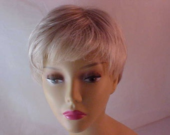 PIXIE Human Hair SALON  Wig ~ Blonde with Lt. Brown Highlights