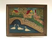 Vintage Folk Art Painting, Bridge, Swans, House, Barn, 60 Years Old, Oil Painting, Home Decor, Cottage Decor, Primitive Painting