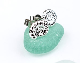 Solid Silver Stud Earrings, Ammonite Earrings, Silver Fossil Earrings, Ecofriendly Sustainable Silver Jewelry, Silver Shell Studs, Gift idea