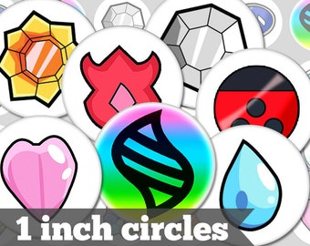 Pokemon Gym Badges - 1 Inch Circles - 17 Unique Images - Digital Collage Sheet - Jewelry Supply, Cabochon, Bottle Caps - INSTANT DOWNLOAD