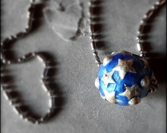Star necklace celestial ball blue enameled silver on copper