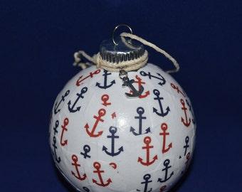 Nautical Christmas Ornament, Coastal Christmas Ornament, Navy Christmas Ornament, Nautical Decor, Anchor Ornament