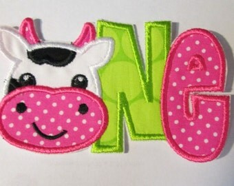 Cow ONE - Iron On or Sew On Embroidered Applique - QUICK SHIP