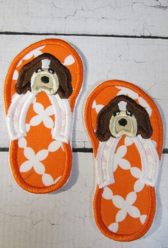 Hound Dog Team Mascot Flip Flops - Iron On or Sew On Custom Made Embroidered Applique