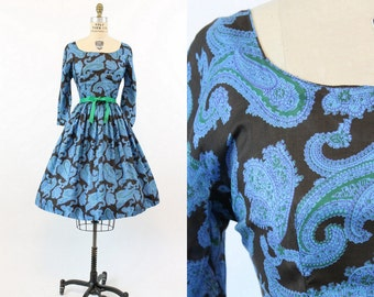 50s Silk Dress Small / 1950s Jeanne D' Arc Paisley Dress / The Hastings Dress