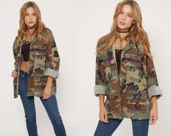 FALL SALE Vintage 90s CAMOUFLAGE Jacket Military Army Jacket  Oversized Unisex Fatigue Jacket Grunge Outerwear