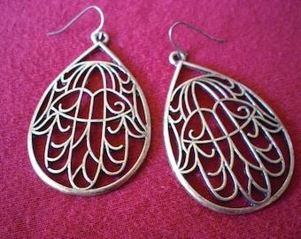 Tribal Filigree Mano De Fatima Ethnic Gypsy Charm Earrings Brass Gold Tone Dangle Funky Unique 20 18 gauge 1mm Normal Standard Piercing
