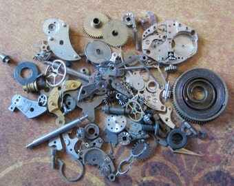 Vintage WATCH PARTS gears - Steampunk parts - m9 Listing is for all the watch parts seen in photos