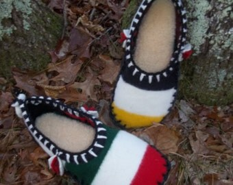 Hudson Bay Comfort Scuffs-Felted Blanket Wool / Sheepskin & Leather Soles Moccasins / Slippers - Women's or Men's Sizes