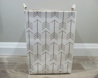 "13""x13""x19"" Laundry Hamper - Laundry Basket - Laundry Bag - XXL Basket - Toy Bin - Storage - Nursery - Home Decor- White/Taupe Arrows Canvas"