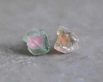 Watermelon Tourmaline Rough Slice Earrings