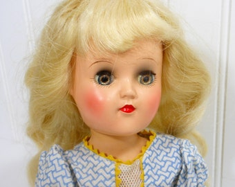 1950's Vintage TONI Doll Platinum Blonde Original Dress Tag Shoes Mid Century Ideal Toy Walker Sleep Eyes Collectible PeachyChicBoutique