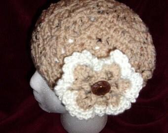 Women's Crochet Winter Hat..Tan