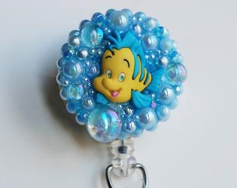 Little Mermaid's Flounder  ID Badge Reel - Retractable ID Badge Holder - Zippers - Zipperedheart