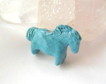 Stoneware Clay Turquoise Glazed Indian Pony Horse Bead