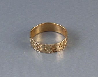 Antique Victorian 10k rose gold ornately hand carved wedding band ring, size 6