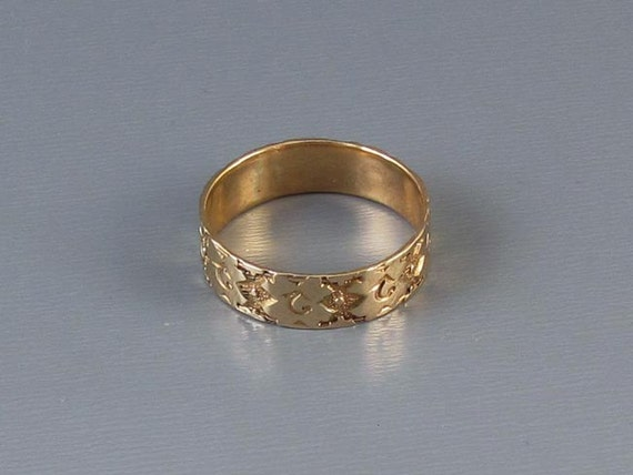 Antique Victorian 10k rose gold ornately hand carved wedding band ring, size 6
