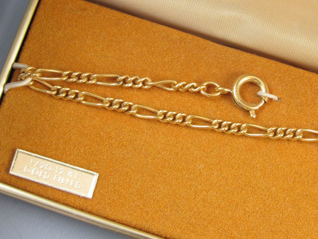 Vintage gold filled signed La Mode pocket watch chain with dog tag fob NOS new old stock unused mint condition