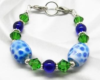SALE Beaded Medical ID Alert Tag Strand Bracelet or Interchangeable Watch Face Bracelet GORGEOUS Green & Blues