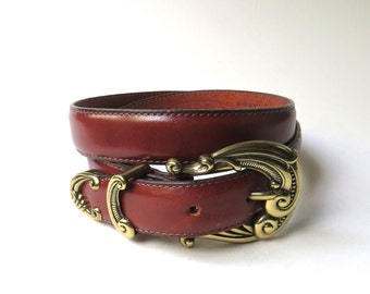 Talbots vintage Russet Brown Leather Belt with Ornate Brass Tone Metal Buckle / Made in U.S.A.