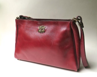 70s vintage Etienne Aigner Handmade Burgundy Leather Purse / Aigner Oxblood Leather Handbag