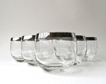 Mad Men vintage Mid Century Silver Band Roly Poly Glasses / Set of 5