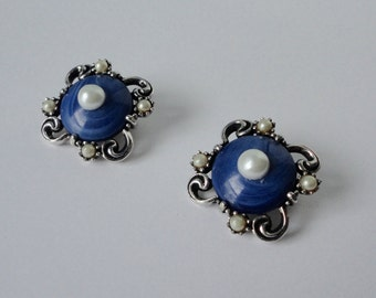 Vintage Silver tone metal with Blue Lucite cab and Faux Pearls Earrings.