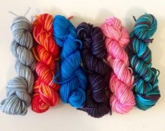 Set of 6 Sock Yarn Miniskeins