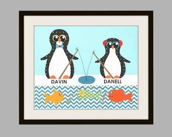 PENGUIN Art Print, Boys Bath, BROTHERS, KIDS Bath Wall Art, Fish Wall Decor, Bathroom Art