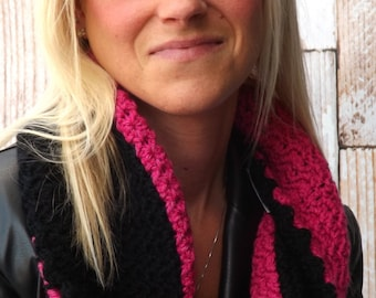 Twisted Infinity Cowl - Pink and Black Twisted Cowl - Twisted Infinity Scarf - Winter Accessory - Two Toned Infinity Cowl - Unique Cowl