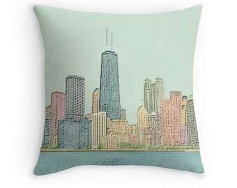 Chicago Skyline Throw Pillow with Insert, 16x16, City Skyline, Lake Michigan Decor