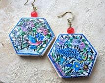 Persian Antique Azulejo Tile Hexagon Earrings Qajar Iran Persia Turkish Islamic Arab Bohemian Middle Eastern Majolica Ethnic Birds